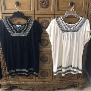 2 Sonoma large ladies shirts.  Cream and Black.